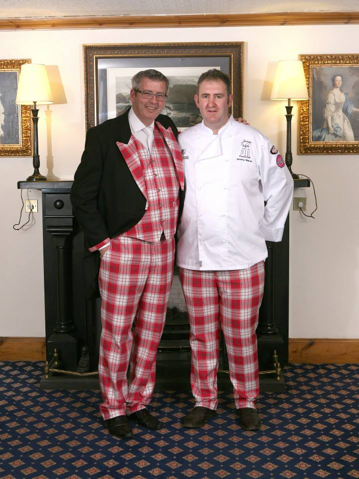 Wobbly Williams Founder Bryn Williams and Top Chef Jeremy Wares in the wobbly tartan